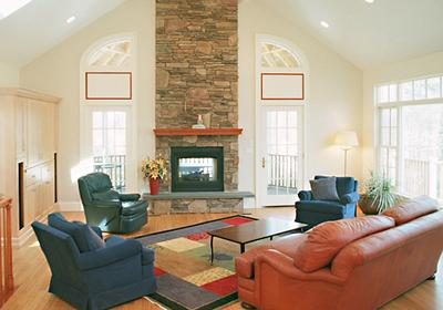 2 Story Stone Fireplace Design Vaulted Two Story Living